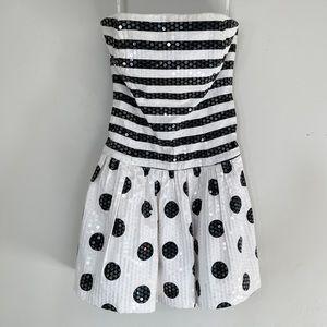 Betsey Johnson Evening Sequined Black White Dress